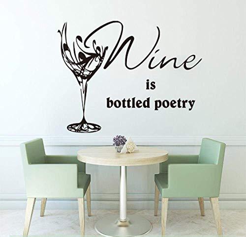 El Vino Se Embotella Poema Copa De Vino Etiqueta De La Pared Cocina Restaurante Habitación Vino Cuenco Cita Pared Calcomanía Bar Pub Restaurante Decoración De Vinilo 56X44Cm