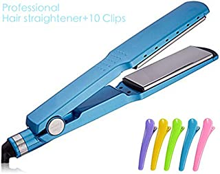 Professional Hair Straightener,Nano Titanium Plate 2 IN 1 Straightening Iron Flat Iron Hair Straightener Irons Styling Tools With 10-Packs Colorful Hair Clips