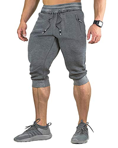 EKLENTSON Pantaloncini Fitness Uomo Tre Quarti 3/4 Capri Comodi Traspiranti, Grigio Scuro-1