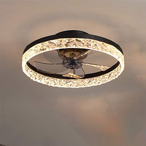 FLYFO Deckenventilator Mit Beleuchtung, Fernbedienung Dimmbar, Dimmbarer Windgeschwindigkeit, 30W LED Deckenleuchte, Leise Ventilator Kronleuchter Für Wohnzimmer Schlafzimmer Büro,Schwarz