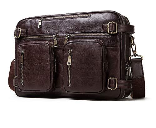 Leather men's bag, retro men's shoulder bag, the first layer of leather, cross-functional satchel, handbag, backpack (40 * 13 * 28cm, Style 3-coffee color)