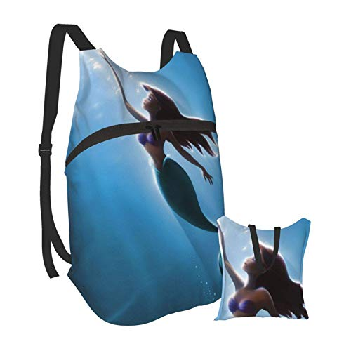 Little M_ermaid A-riel Folding Portable Bapa Casual Lightweight Bag Waterproof High-Capacity Travel Camping for School College Students Bapas