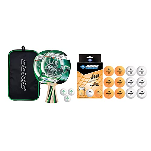 Donic-Schildkröt Tischtennis-Set Top Teams 400, 2 Schläger, 3 Bälle in guter 1* Qualität & Unisex– Erwachsene Tischtennisball Jade, Poly 40+ Qualität, 12 STK. im Polybag, 6 x weiß / 6X orange, M