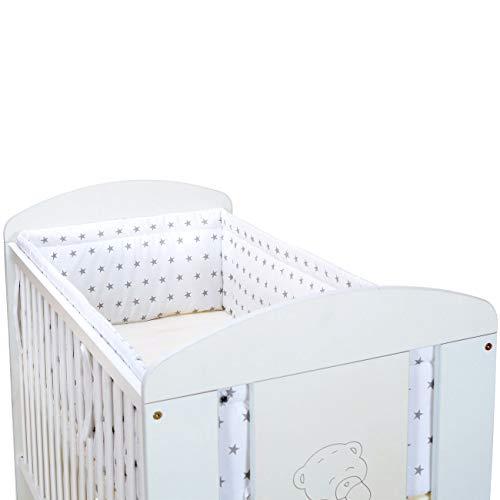 LCP Kids Chichonera cuna │ Protector de barrotes para bebé con diseño de estrellas │ Cabecero de algodón 360x30 cm