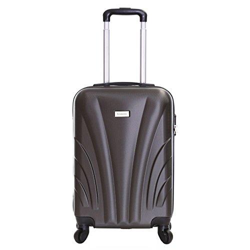 Slimbridge Hard Cabin Hand Carry-on Suitcase Luggage Bag 55 cm 2.5 kg 35 litres 4 Wheels Number Lock, Ferro Dark Grey