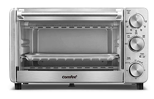 COMFEE' Toaster Oven, 4 Slice, 12L, Multi-function Stainless Steel Finish with...