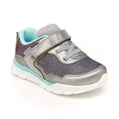 Stride Rite 360 Girls Kyla Athletic Running Shoe, Silver, 8 Little Kid