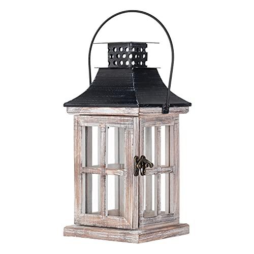 Dekorative Laternen, Holzlaternen für Draußen Groß Hängen Laterne Metall Kerzenhalter Glas Windlicht Kerzenständer Windlichter für Balkon Innen Außenbereich Kerzenhalter Gartenbeleuchtung Dekoration