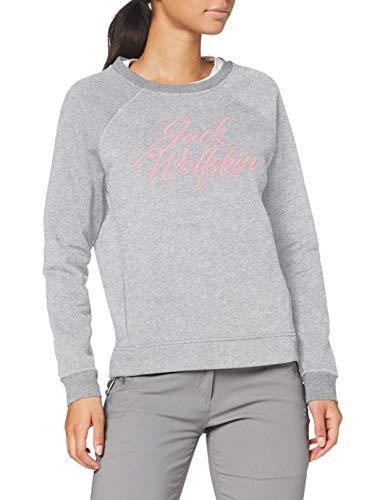 Jack Wolfskin Damen Winter Logo Sweatshirt, Light Grey, S