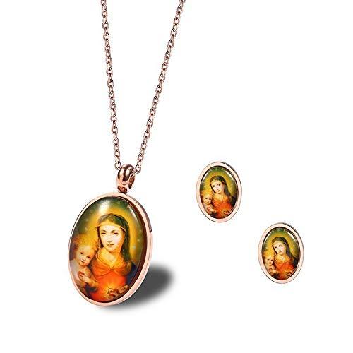 Burenqi Gouden Maagd Maria met Baby Jezus Hanger Ketting Oorbel Set Religieuze Sieraden In RVS Beste Kerst