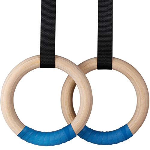 INTEY Wood Gymnastic Rings Adjustable Long Buckles Straps For Home Gym & Fitness Strength Training