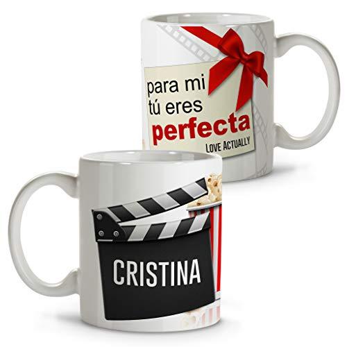Taza de película Personalizada con Nombre. Regalos de Cine Personalizados. Tazas Personalizadas con Interior de Color. Taza San Valentin de cerámica. Love Actually