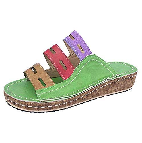 JPNVTUO Mujeres Tres Colores Sandalias de Costura Moda Verano Playa Zapatos de Viaje Sandalias de Fondo Grueso Material PU Artificial Adecuado para Playas Compras Trabajar Viajar