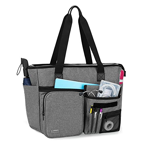 """Trunab Nurse Tote Bag for Work with Padded 15.6"""" Laptop Sleeve  Grey"""