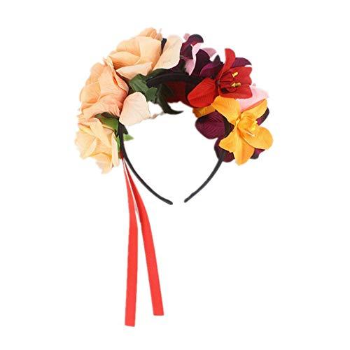 N/A. Corona de rosas artificiales para fiestas en la playa o vacaciones de Halloween con lazos rojos, ideal para fiestas de disfraces