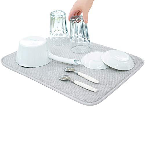 水切りマット抗菌速乾吸水マット食器乾燥マット丸めて収納キッチンマイクロファイバー水切りマットSanleaves35x45cmグレー