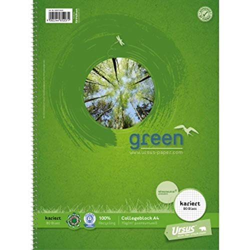 Ursus Green 608570020 Collegeblock - A4, 80 Blatt, 70g/qm, 5 mm, kariert