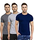 Scott International Men's Regular Fit T-Shirt (Pack of 3) (SS20-3RN-BU-GR-CH-L_Navy Blue & Charcoal & Grey_Large)