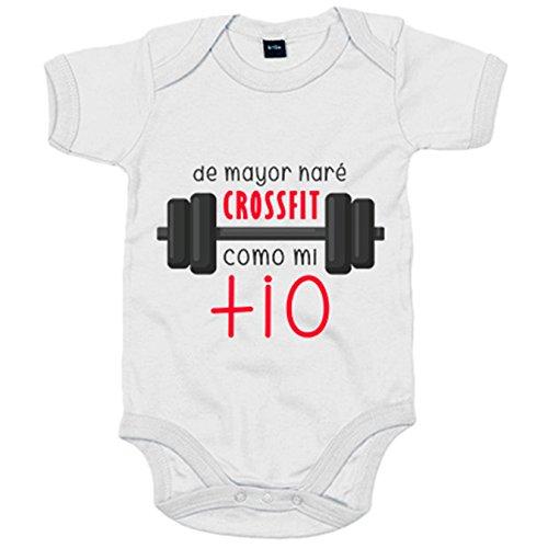 Body bebé De mayor haré Crossfit como mi tío - Blanco, Talla única 12 meses