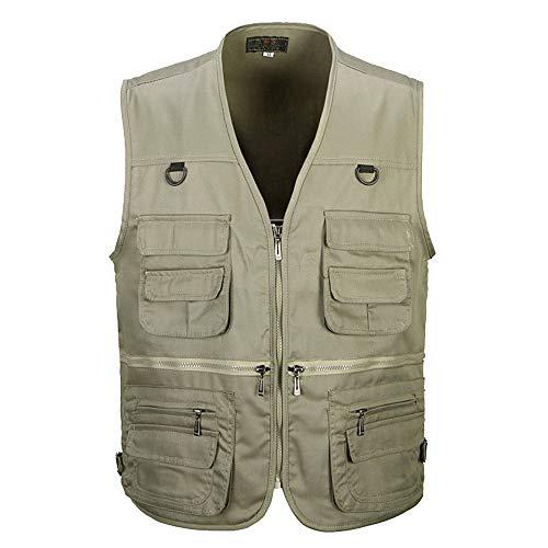 XFentech Printemps et Automne Vestes pour Hommes - Gilet lâche pour Hommes avec Multi-Poches - 2XL/Couleur Kaki