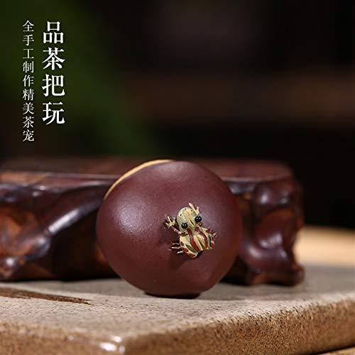 YuanBo Wu Tee Haustier Boutique-Spray Tee Kastanien kreative Frosch Skulptur Verzierungen Spielen Tee (Color : Purple mud)