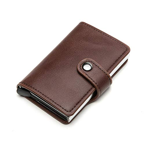 Men RFID Blocking Leather Card Holder Women Credit Card Case Compact Card Holder w/Pop Up Button & ID Slot - brown - 5.90x1.18x5.11