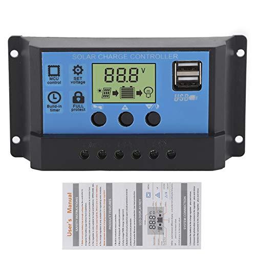 Pantalla LCD 12V 24V Controlador de carga solar Parámetros ajustables Panel solar Batería Regulador inteligente para el hogar Coche industrial(C(30A), Pisa Leaning Tower Type)