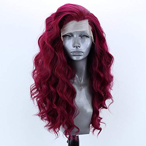 SeraphicWig Purplish red Long Curly Wavy Synthetic Lace Front Wig for Women Beautiful Loose Curl Wine Synthetic Wig for Party Heat Reisitant Fiber Hair 24inch