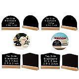 8 Piezas Pizarra Decorativa Madera Mini Pizarra de Madera Mini Tablero de Mensajes, Mini Pizarra con Soporte de Madera para Bar Fiesta en el Hogar Boda Restaurante(Cuadrado Irregular y Semicírculo)