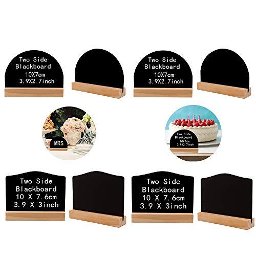 Mini Tafel Set, 8 Stück Cute Mini Nachricht aus Holz Tafel Tischplatte doppelseitige Tafel, Mini Nachricht Holz Tafel, für Bar Home Party Hochzeiten Tisch Deko(unregelmäßiges Quadrat und Halbkreis)