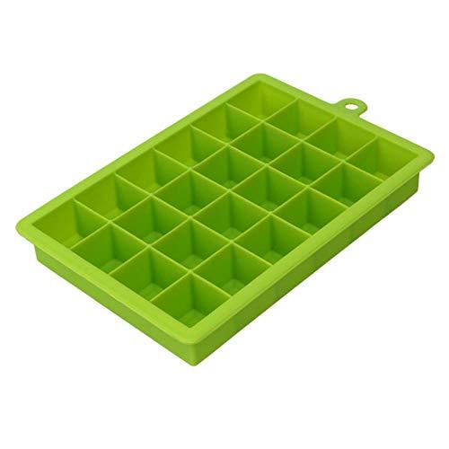 CTOBB 24 Grille Ice Cube Moule Forme carrée Silicone Ice Plateau Déverrouillage Ice Cube Maker Bricolage Fruits Moule à Glace Accueil Bar Accessoires de Cuisine, Vert
