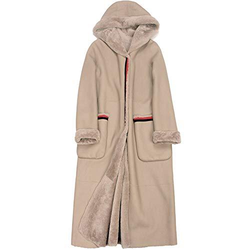 GWDYE Damen Lederjacke, Pelz eine mit Kapuze, Lange Winterjacke für Frauen aus echtem Leder, warm und kalt halten,XL