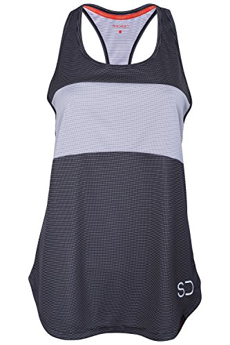 Sundried Womens Sports Vest Yoga Wear ärmelschulterfrei Training and Gym Tank Top (Medium, Grey)