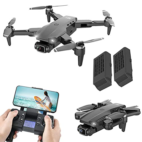 JJDSN Drones con Control Remoto Recargable, 4K HD Drone con 120deg; Cámara FOV para Adultos, Quadcopter GPS con transmisión FPV de 5GHz, Drones GPS Plegables 2 baterías y Mochila