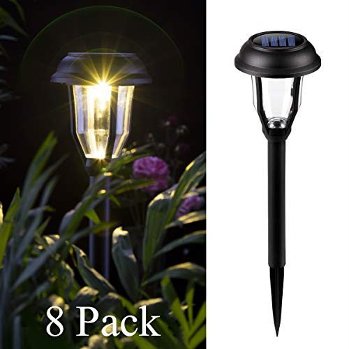 GIGALUMI Solar Pathway Lights Outdoor, 8 Pack Wireless LED Solar Garden Lights, Waterproof Solar Path Lights for Outdoor Patio, Yard, Walkway, Lawn. (Warm White)