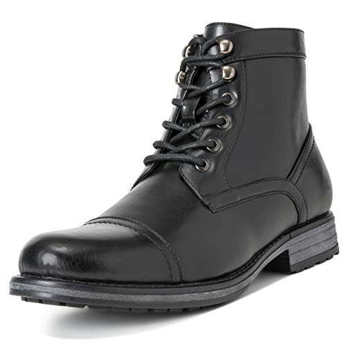 Herren Queensberry Albert Leder Schuhe Business Arbeit Büro Stiefeletten - Schwarz - EU45/UK11 - QB0018