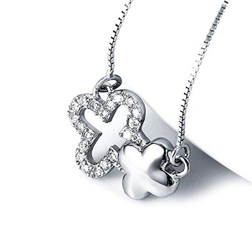"Damen Silberkette ""Kleeblatt Twins"" Kette inkl. Anhänger in Kleeblattform 925er Sterling Silber"