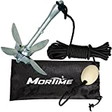 MorTime Grapnel Anchor Kit 3.5 lb Folding Anchor with 40ft Rope, Marine Anchor Accessories for Kayaks, Canoes, Paddle Boards