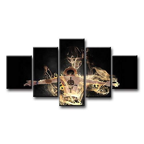 luyiwzd Cuadro sobre Lienzo 5 Piezas 5 Piezas Anime One Piece Canvas Posters Painting Wall Pictures Impresiones Decorativas Modernas Decoración para El Hogar-KL-30