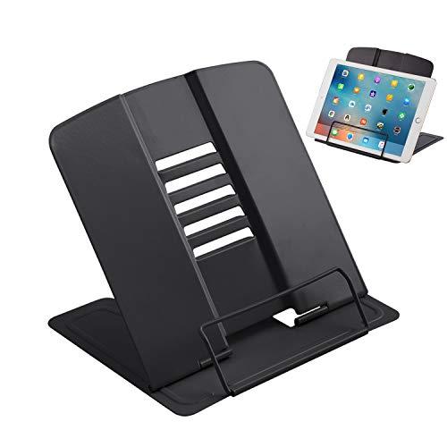 Schwarz Leseständer Metall, 6 Stufen verstellbar,Faltbar Tablette Buchständer für Küche,Arbeitszimmer, Büro, Schule (Schwarz)
