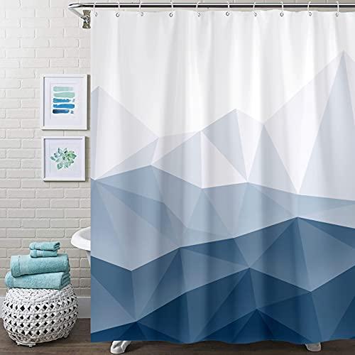Accnicc Blue Fabric Shower Curtain Set, Navy Ombre Geometric Mountain Cloth Bathroom Curtain, Modern Decorative Bath Curtain (Blue, 72'' × 72'')
