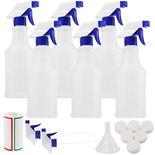 Spray Bottles 6pcs 16oz Empty Plastic Spray Bottle with Adjustable Nozzle for Cleaning Solutions, Planting, Cooking Includes Funnel, Screw Caps, Labels and Replacement Spray Trigger