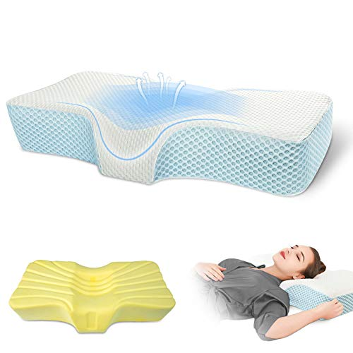 Memory Foam Pillows for Sleeping, Cervical Spine Ergonomic Pillows - Super Soft & Comfortable Relief Migraine & Neck Pain Bed Pillow, Good for Side, Stomach, Back Sleepers, Free Washable Pillowcase