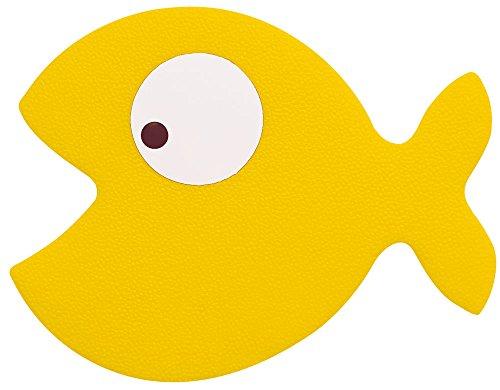 Spirella Duschmatte Badematte Badewanneneinlage Anti Rutsch Pads Fisch Gelb - 5 Stück - antibakteriell Rutschfest mit Saugnäpfen - ca. 13 x 12,5 cm