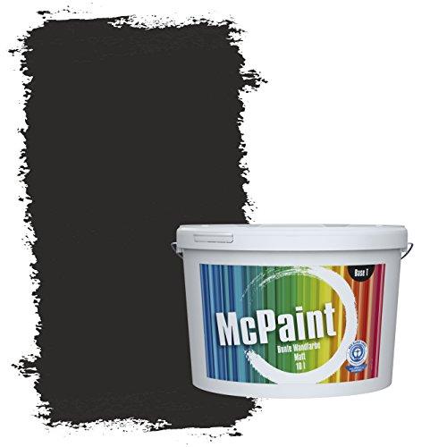 McPaint Bunte Wandfarbe matt für Innen Lakritzschwarz 5 Liter - Weitere Graue Farbtöne Erhältlich - Weitere Größen Verfügbar