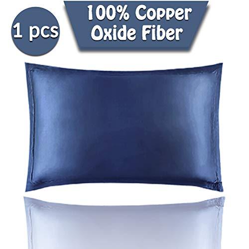 NGLVKE Funda de almohada antienvejecimiento con fibra de óxido de cobre para rejuvenecer la piel, antiarrugas y terapia de belleza para dormir (18,8 x 27,5 pulgadas)