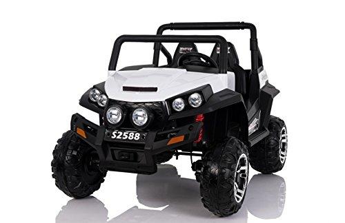Babycoches Buggy RSX Safari 24V, 2 plazas, bluetooth, ruedas todoterreno caucho, asiento polipiel. COLOR BLANCO