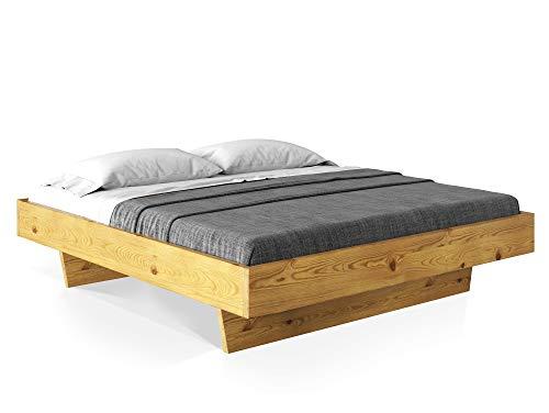 CURBY Massivholzbett Doppelbett Wangenbett aus massiver Thermo -Fichte, hochwertige Verarbeitung, einfacher Aufbau, Made in Germany