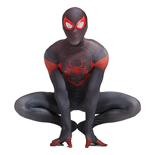 Body Unisex Adultos Nios Disfraz de Spiderman Negro Ps5 Miles Morales Disfraz con mscara Nios Juego Negro Fans de pelculas-Kid S