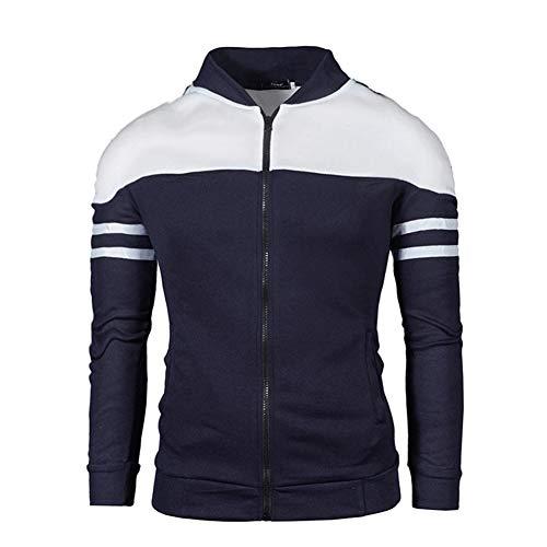 Morbuy Homme Cardigan Outerwear Sweat-Shirt Veste Cardigan Longue Zippée Manches Longue Manteau Long Slim Fit (XXL, Marine)